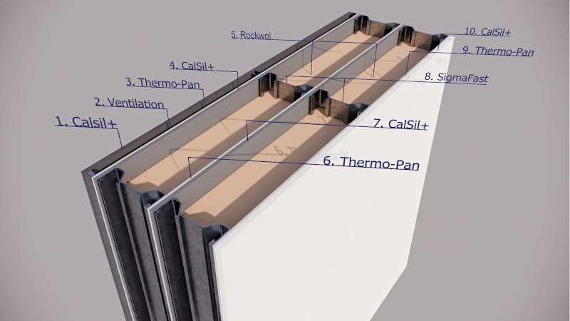 Thermo-Wall panel with Rockwool insulation